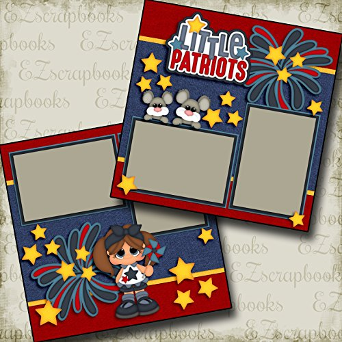 LITTLE PATRIOTS GIRL - Premade Scrapbook Pages - EZ Layout 2811