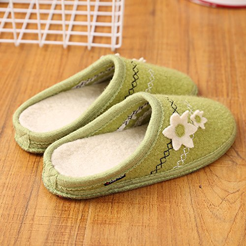 LE KAPMOZ Womens Warm Slip On Boiled Wool House Slippers Breathable Clog Indoor Mule Shoes For Lady Light Green/White vikP2F