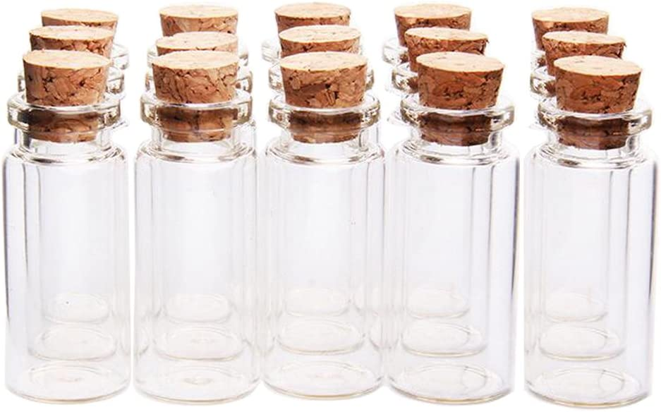3ml 12PCS Empty Clear Glass Wish Bottles with Corks Stoppers Small Decoration Crafts Vials Jars Gift DIY Bottles Small Jewelry Storage Holder Container Decoration Message Weddings Party Favors