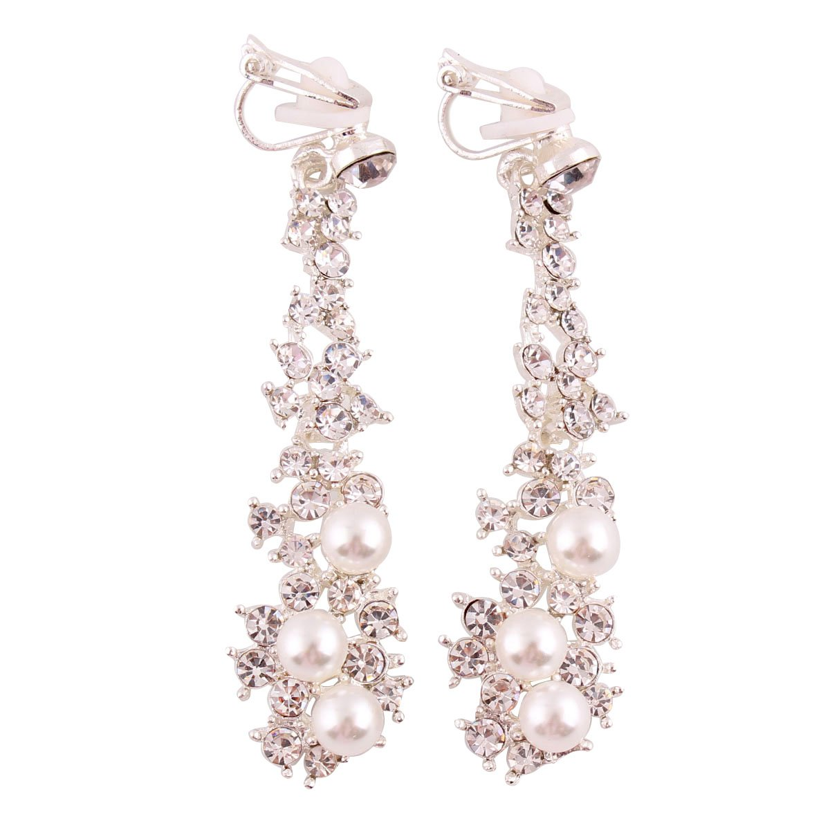 Grace Jun Luxury Bridal Rhinestone Clip on Earrings Non Piercing for Women Large Statement Earrings (Silver ear clip)