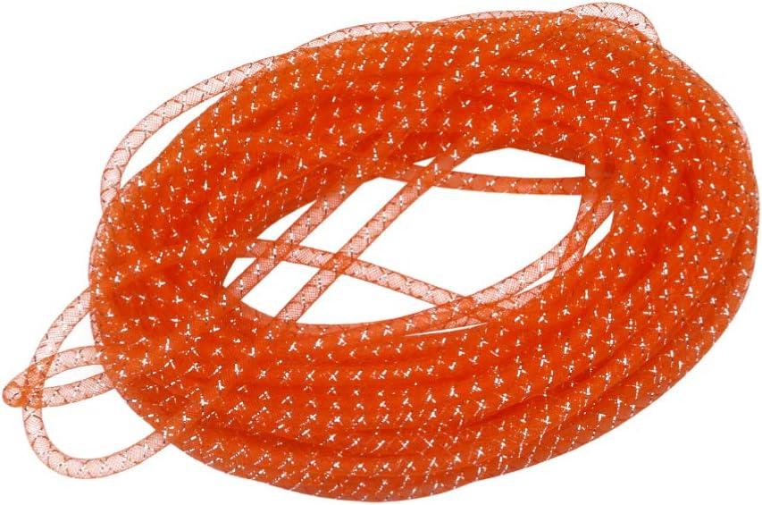 EXCEART Deco Mesh Flex Tubing Solid Mesh Tube Deco Flex for Wreaths Cyberlox CRIN Crafts Elastic Braided Thread Tube Cords Bracelet Crafts Making (Orange) 25m