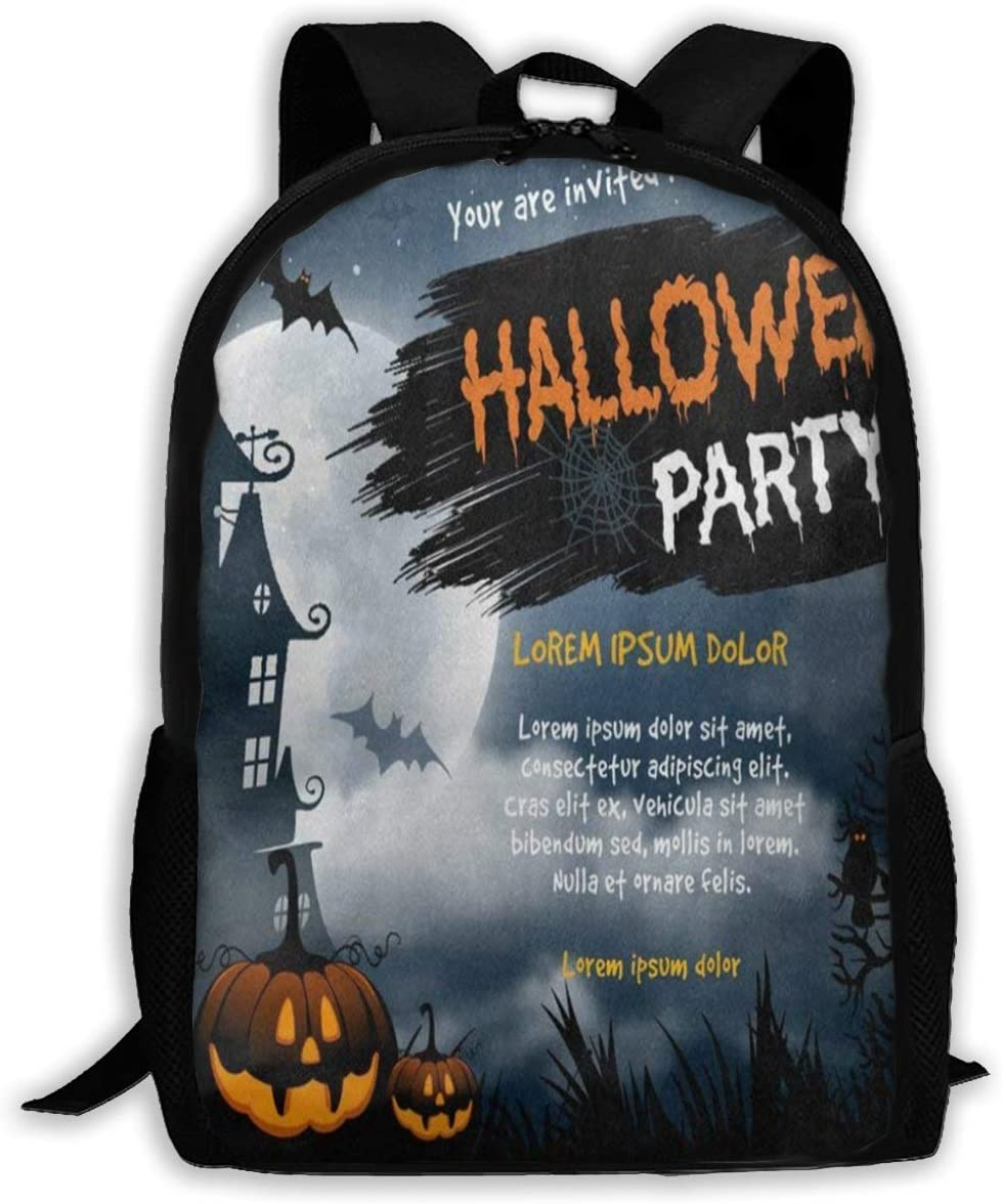 Backpack Halloween Party Castle Pumpkin Zipper School Bookbag Daypack Travel Rucksack Gym Bag For Man Women