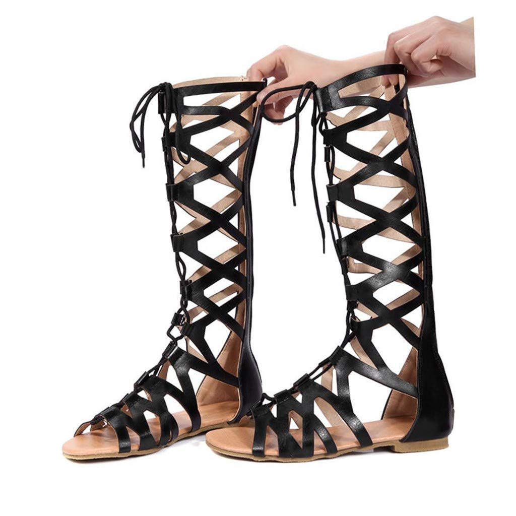 Women's Lace-up Knee-High Boots With Sandals - POHOK Women Fashion Casual Flats Knee High Boots Roma Shoes Sandals (Black,35)