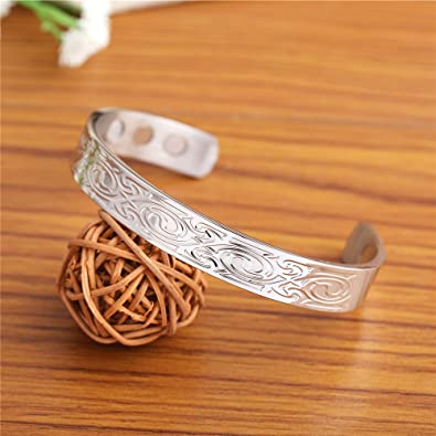 My Shape Health Care Magnetic Chunky Solid Stainless Steel Bracelet Cuff Open Bangles Amulet Jewelry