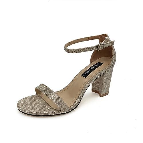 Zapatos de Mujer Primavera Verano Nuevo Tacones Altos Gruesos con Puntas  Abiertas Roma Sandalias Simples Mujeres 1c4549b562a6