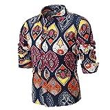 Men Print Shirt Casual Fashion Graphic Pattern Top Blouse Button Down Shirt Zulmaliu (Multicolor, 2XL)