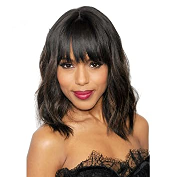 Amazon.com : HonorHair Natural Srt Human Hair Wig With Bangs ...