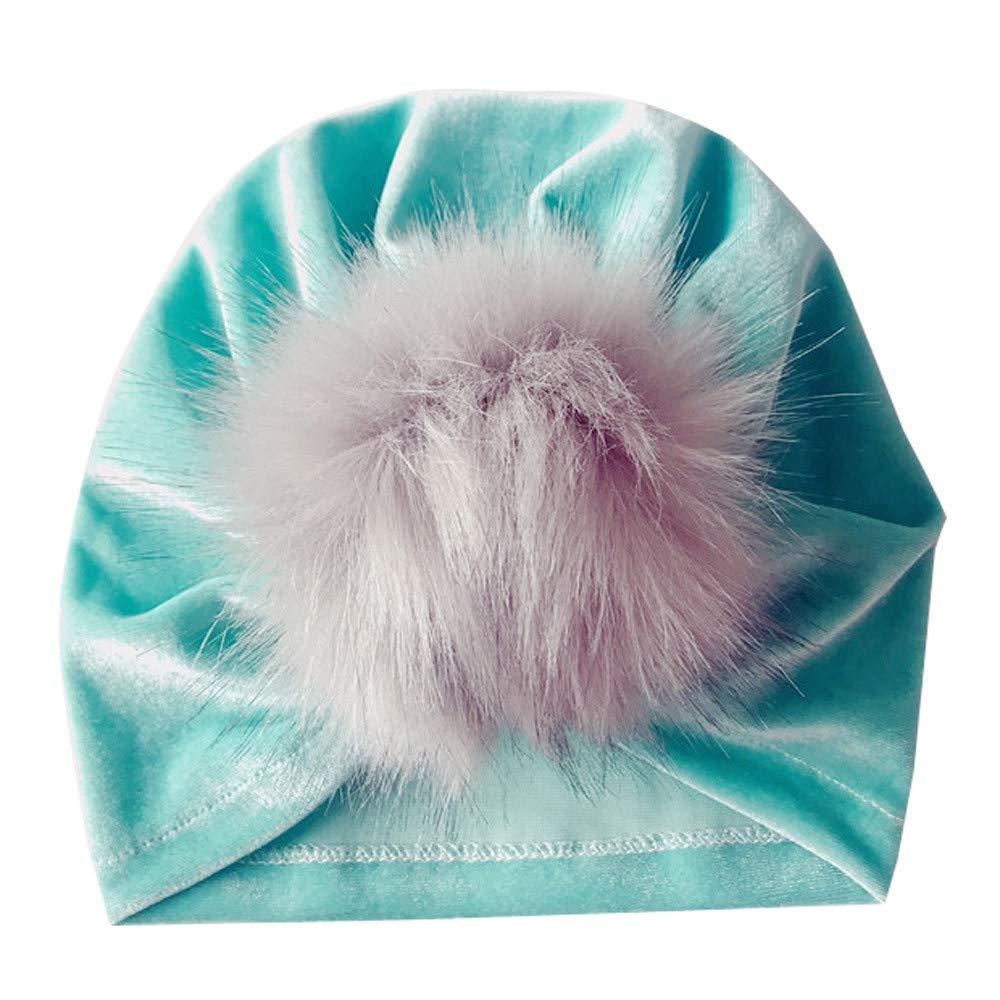 Kasien Kids Baby Hat, Newborn Toddler Kids Baby Boy Girl Venonat Turban Beanie Hat Headwear Hat (Mint Green)