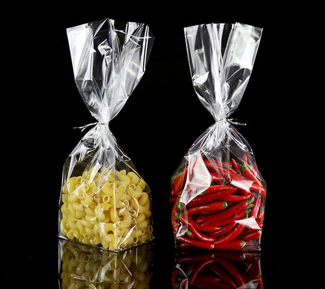 Color Queen Bolsa de Embalaje de Regalo Almacenamiento de Alimentos de Celofán Transparente,Size L 14, W 8, H 27 cm, 10 Unidades, Parte Inferior ...