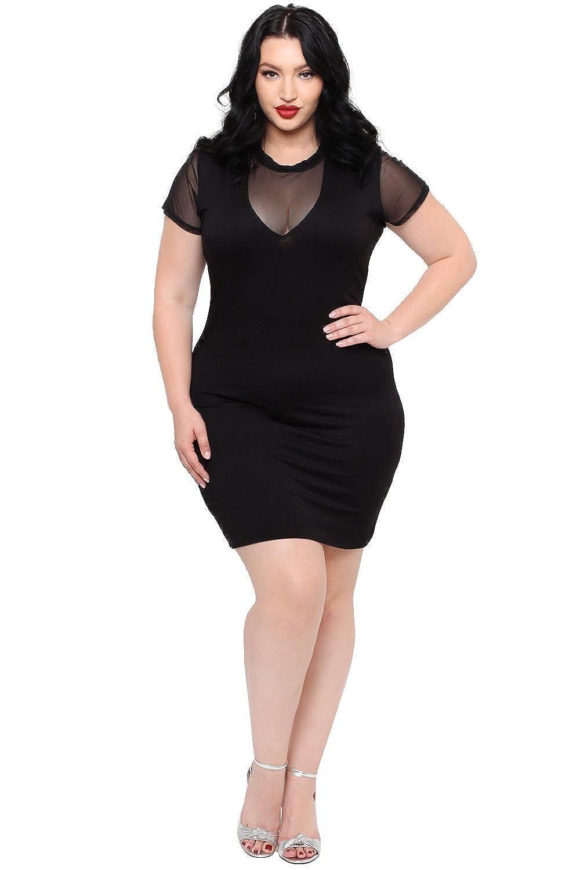 c6f8257d53a Curvy Sense Plus Size Mesh Panel Bodycon Dress - Black at Amazon Women s  Clothing store
