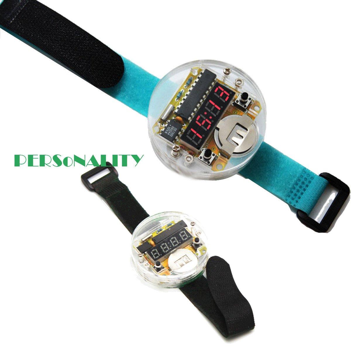 Nrthtri Module DIY 4-Digit Seven-Segment Display Digital Watch Kit W/Velcro Band - Translucent + Black by Nrthtri