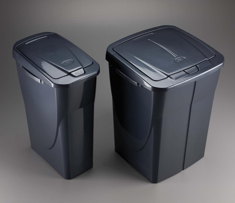 M-Home EcoBin Plastica Grigio 25L Pattumiera per Il Riciclaggio con Sistema di aggancio Connect Ready