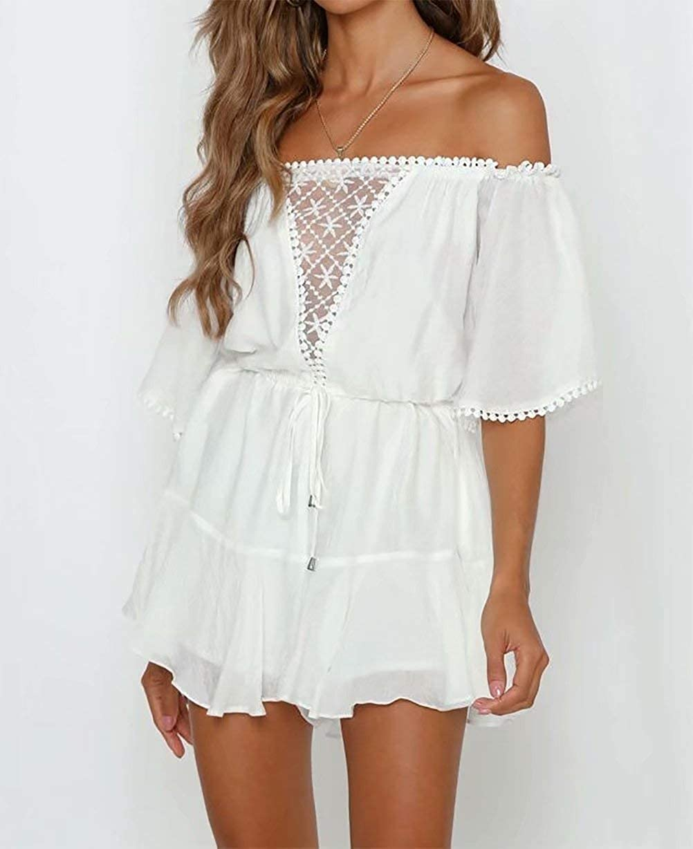 TAOHONG Womens Elegant Jumpsuit Off Shoulder Summer Lace Ruffle Playsuit Short with Belt Romper Perspective Backless