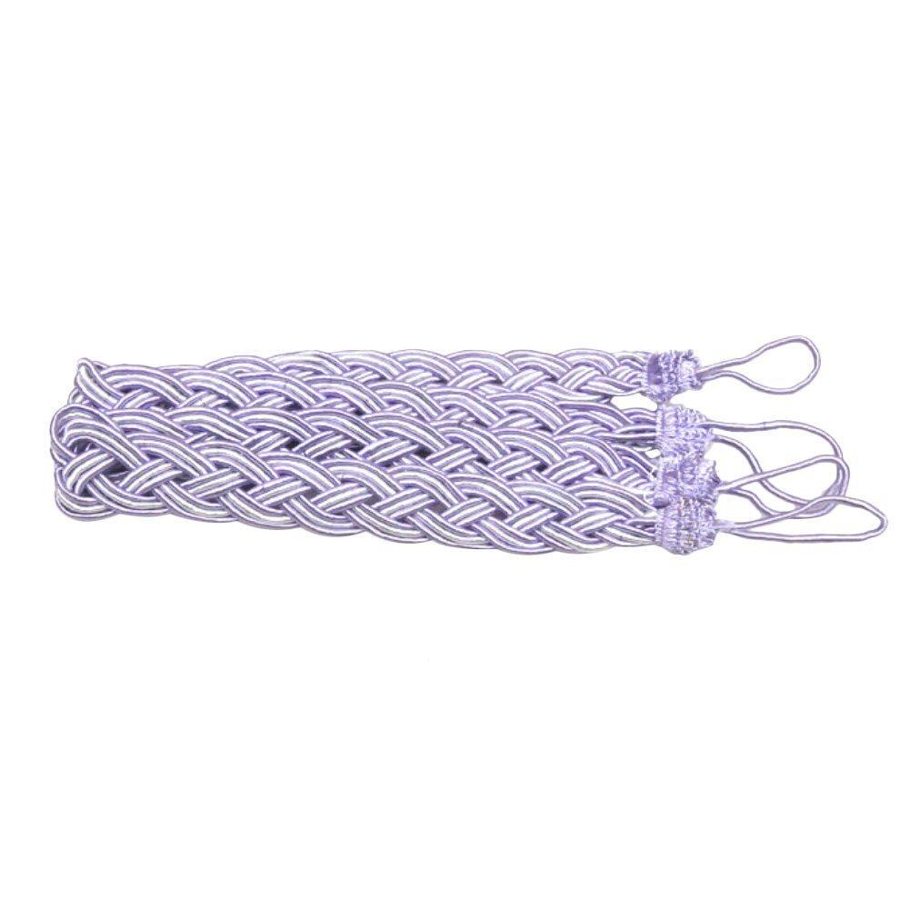 Academyus 2 Rope Curtain Tiebacks - Slender Slinky Rope Cord Drape Hold Backs Fabric Ties - Purple