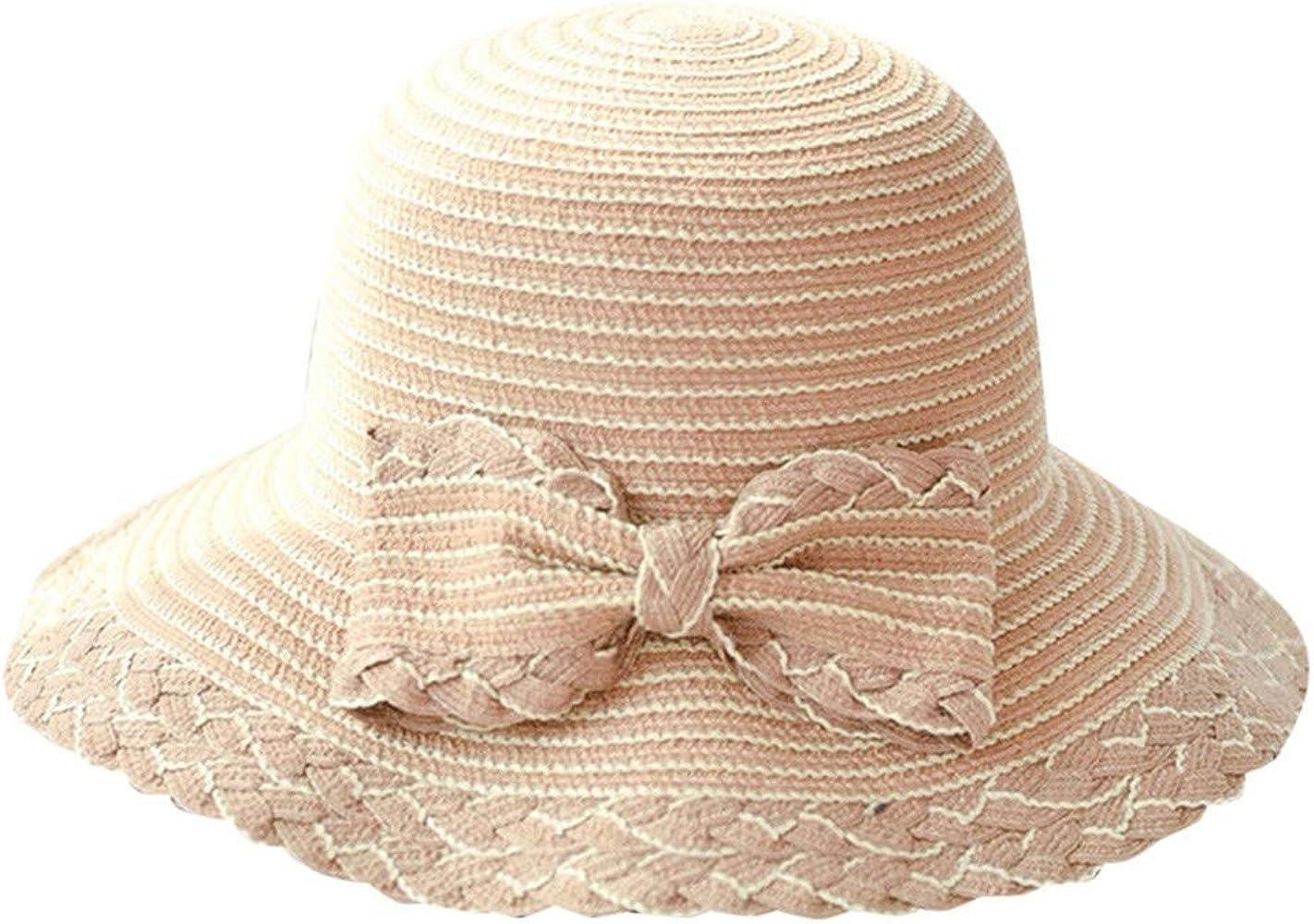 YiYLunneo Sombrero Talla Grande De Arco Paja Sombrero Mujer Playa ...