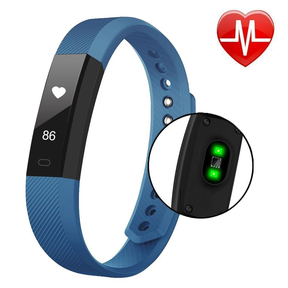 Fitness Tracker with Heart Rate monitor - COOLEAD Activity Pedometer Sleep Monitor Calorie Step Counter Touch Screen Waterproof Bluetooth Smart Wristband for IOS Android Phone(Blue)
