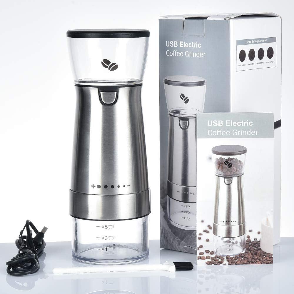herramientas de cocina molinillo profesional ajustable para uso en el hogar y la oficina molinillo de granos de caf/é Molinillo de caf/é el/éctrico,Molinillo de caf/é el/éctrico con carga USB