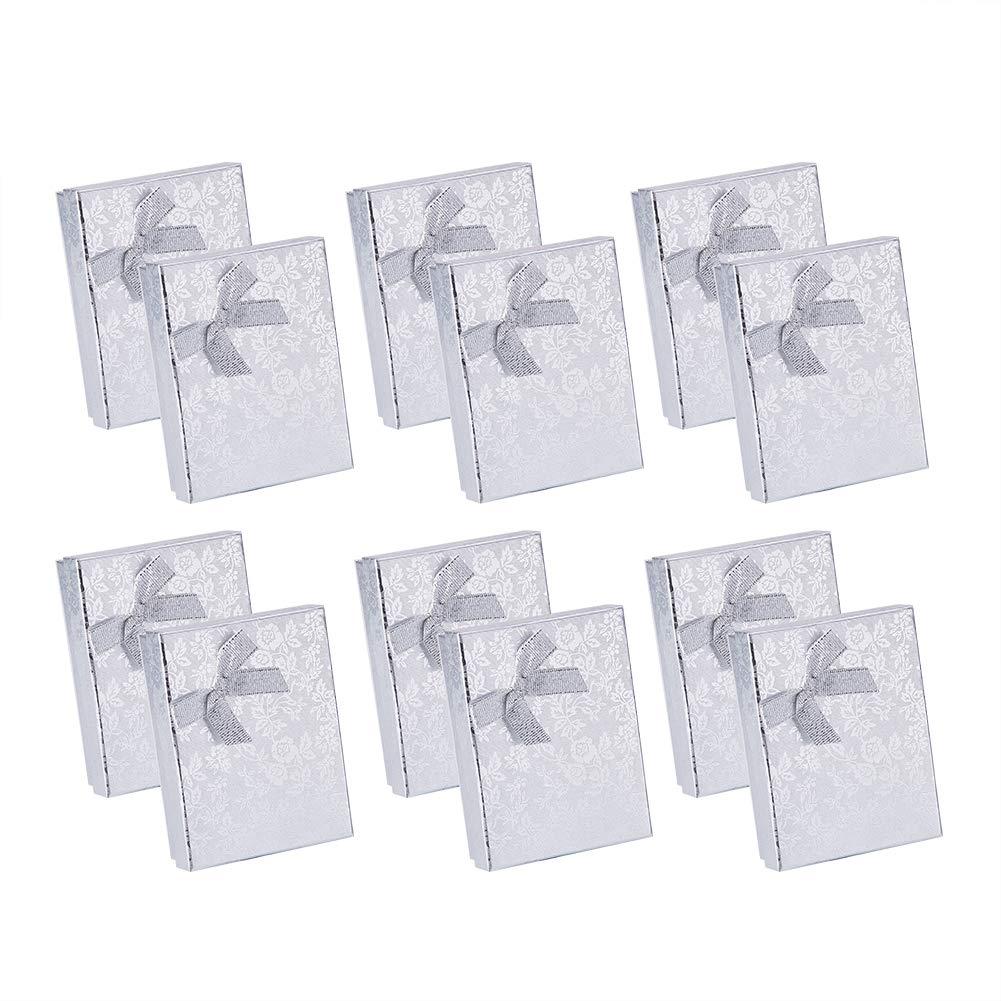 NBEADS 12PCS rettangolare in cartone gioielli scatole regalo con fiocco Accent, argento, 9,3 x 7,1 x 2,9 cm 3x 7 1x 2 9cm