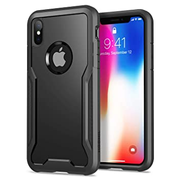 HOOMIL Funda para iPhone X, Funda para iPhone XS, Shock-Absorción Carcasa Protectora para Apple iPhone X/XS Smartphone (5.8 Pulgadas) - Negro