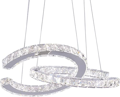 Modern 2 C Rings Crystal Chandelier Lighting LED Pendant Light Fixture Adjustable Stainless Steel Ceiling Hanging Lamp