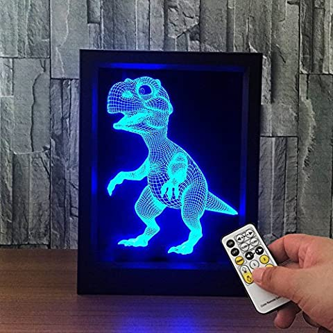 Dinosaur 3D Night Light Photo Frame Lamp ,Elstey 7 Colors Changing Optical Illusion Remote Control Table Desk Night Light Christmas Prank Kids - Cordless Desktop Optical