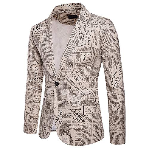 Urban Traveler Jacket (2018 Wintialy Charm Men's Casual One Button Fit Suit Blazer Coat Jacket Printed Tops Beige)