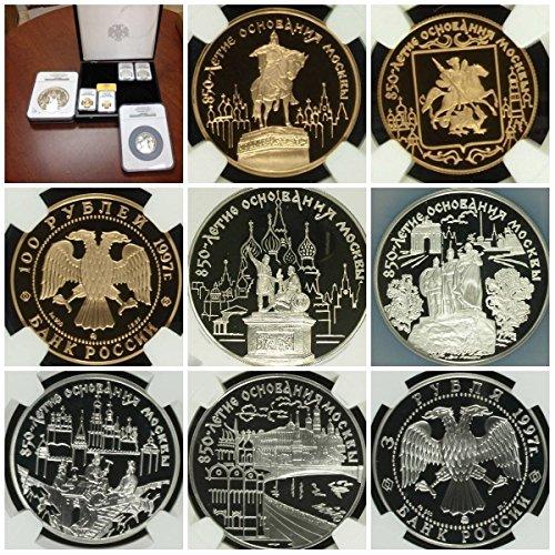 RU 1997 Russia 1997 Commemorative Set 6 Gold Silver Coins PF 68-70 Ultra Cameo