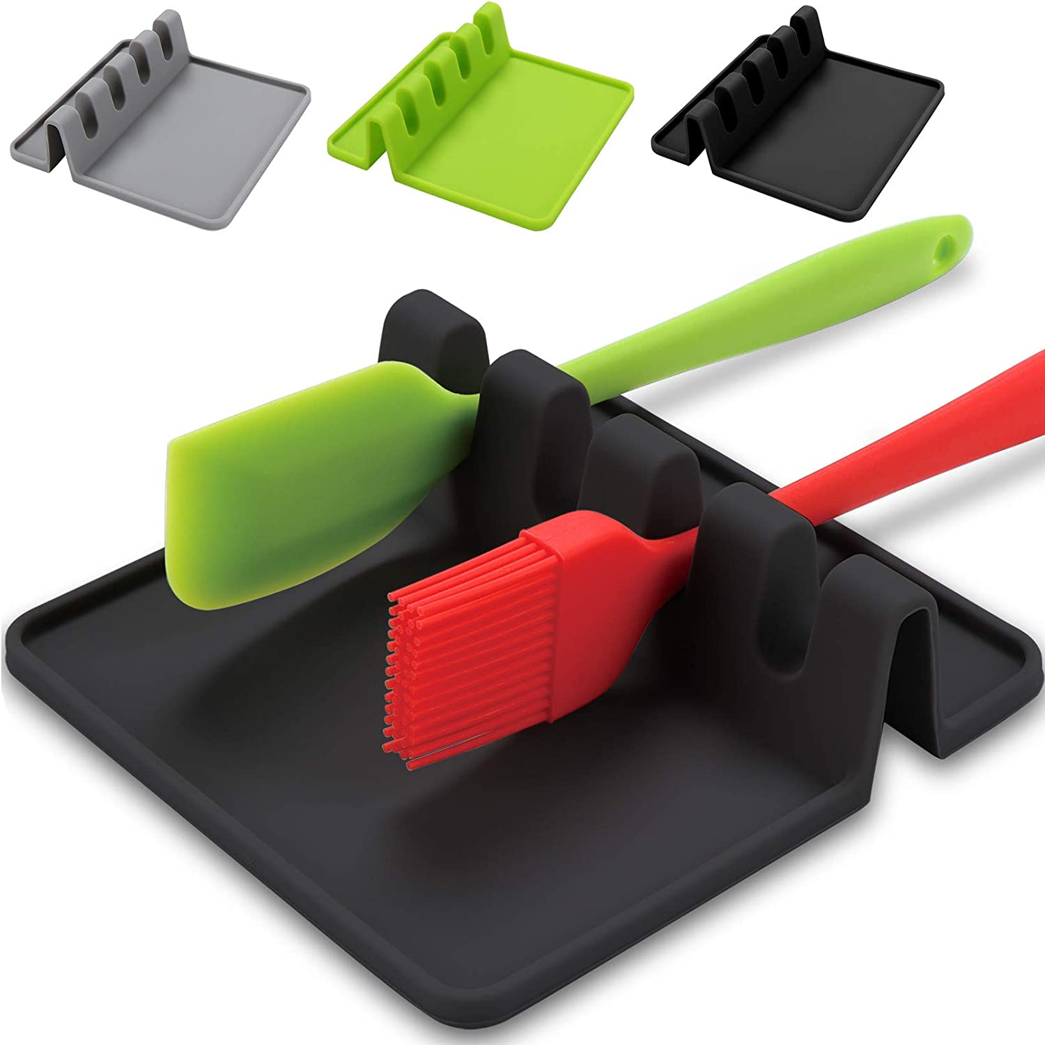 Silicone Utensil Rest with Drip Pad for Multiple Utensils,BPA-Free Spoon Rest & Spoon Holder for Stove Top,Heat-Resistant,Kitchen Utensil Holder for Spoons, Ladles, Tongs & More,By Sinnsally (Black)