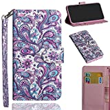 StarCity Alcatel 3V Case, 3D PU Leather Flip Folio Wallet Case Kickstand Cover Card Slots/Wrist Strap (Flower Blossom)