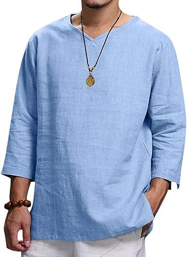 Sayla Camiseta para Hombre Manga Corta Verano Polo Camisas Casual Elegante Talla Tres Cuartos De Lino SóLido CóModo Blusa De La Moda Top: Amazon.es: Ropa y accesorios