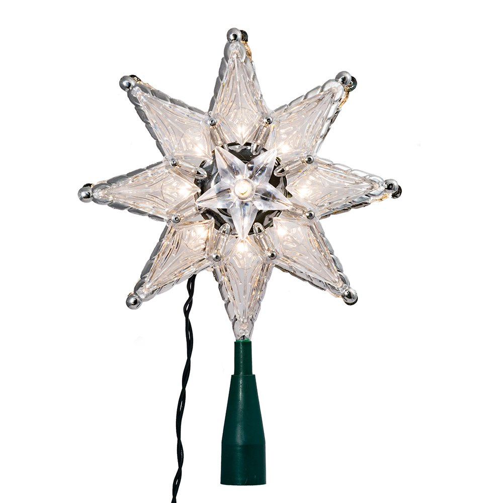 8-Inch Kurt Adler 10-Light 8-Point Star Christmas Treetop Clear