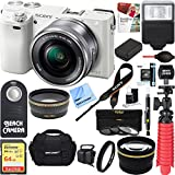 Sony Alpha a6000 24.3MP Wi-Fi Mirrorless Digital Camera + 16-50mm Lens Kit (White) +64GB SD Card + DSLR Photo Bag + Extra Battery+Wide Angle Lens+2x Telephoto Lens+Flash+Remote+Tripod Executive Bundle