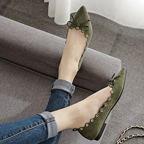 Xue Qiqi Mujeres Solo Zapatos Planos con la Punta del Calzado Plano luz-Pajarita Zapatos de Mujer Baja y Cómoda Sock El verde