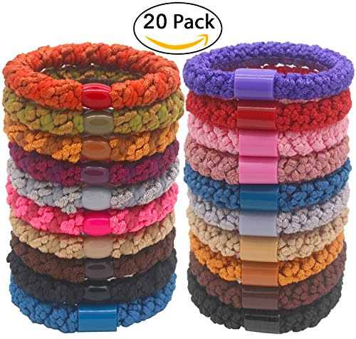 Hairdo Color Ring (Fashion & Lifestyle Hair Ties Ponytail Holders - Large Boutique Girls Stretchy Elastic Hair Ropes Bands Styling Accessories for Women and Ladies Pack of 20, Random Mixed Color)