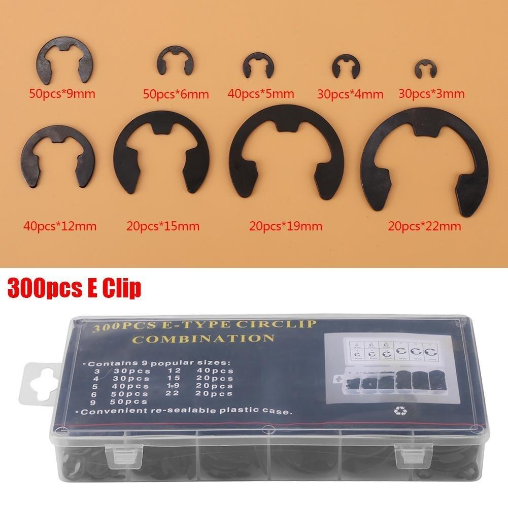 Akozon 300pcs Anillo de Retenci/ón en Forma E Surtido E-clips Black Metal 3mm-22mm con caja
