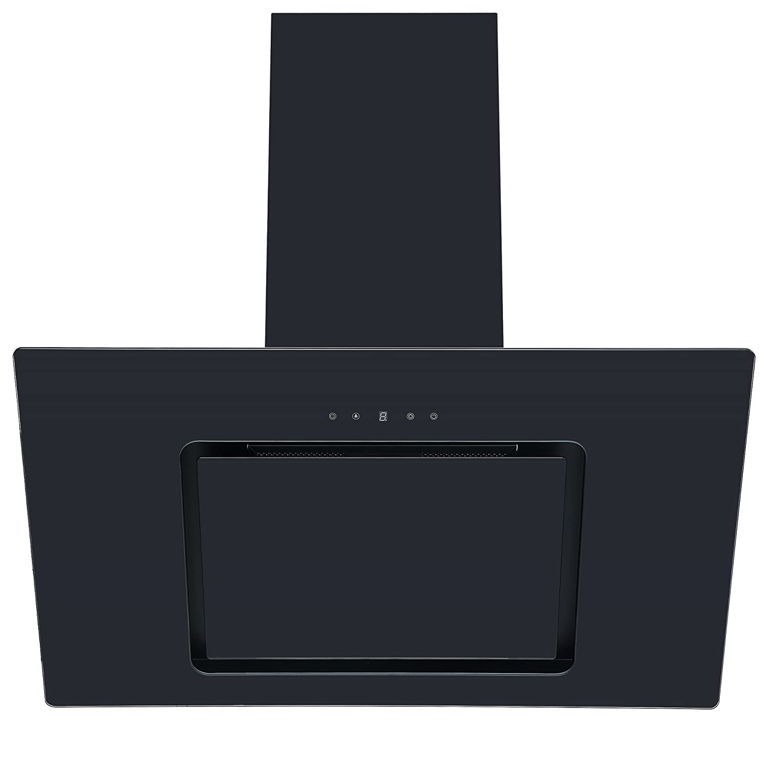Cookology VER805BK 80cm Black Angled Glass Chimney Cooker Hood | Touch Controls [Energy Class C]
