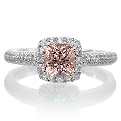 2 Carat Vintage Halo Morganite and Diamond Engagement Ring on 10k White Gold