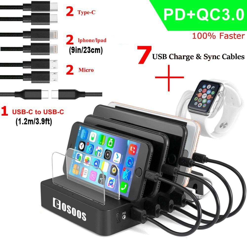 COSOOS Fastest Charging Station with Power Delivery & Quick Charge 3.0,Type C,7 USB Cable(4 Type),iWatch Holder,90W Universal 6-Port PD Charger Station Docking Stand for USB-C Laptop,Cell Phone,Tablet
