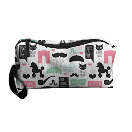 París Poodle bigote bolsas de cosméticos cepillo estuche maquillaje bolsa de cremallera cartera Hangbag bolsa titular