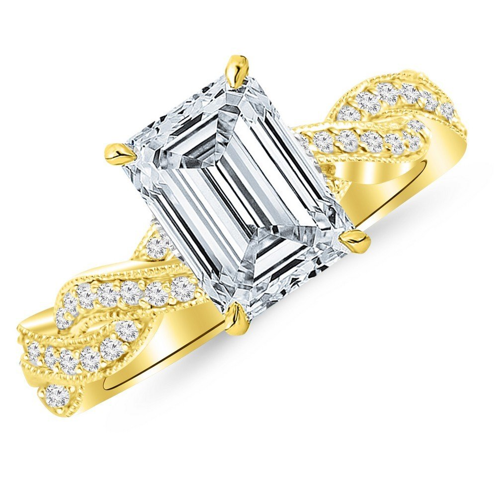 1.28 Cttw 14K Yellow Gold Emerald Cut Vintage Eternity Love Twisting Split Shank Diamond Engagement Ring With Milgrain with a 1 Carat H-I Color VS1-VS2 Clarity Center