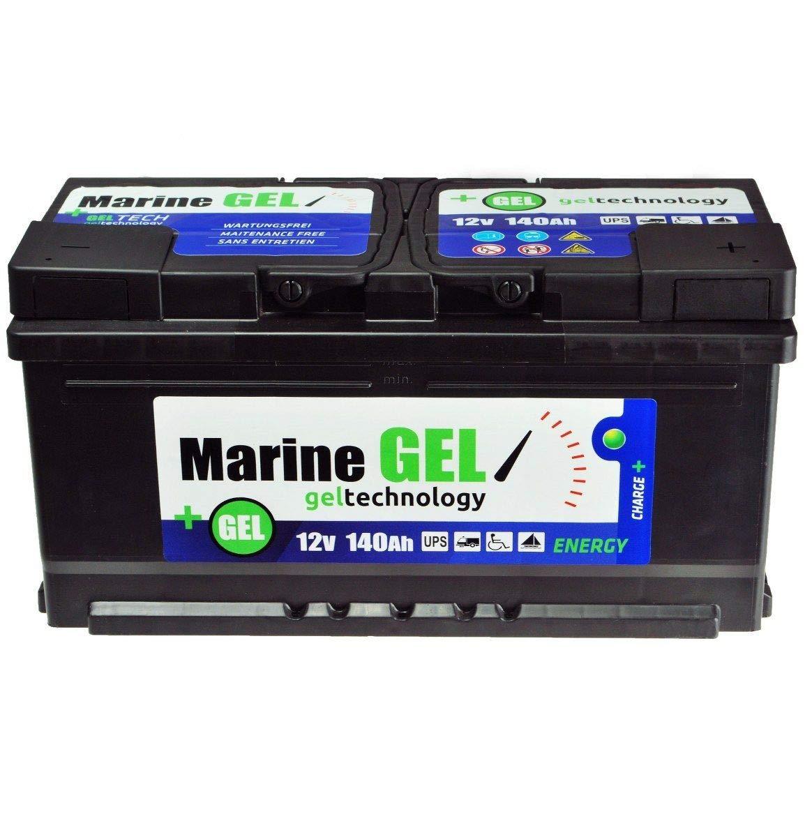 Gel battery, 140 Ah, boat battery, 12 V, supply battery, starter battery.