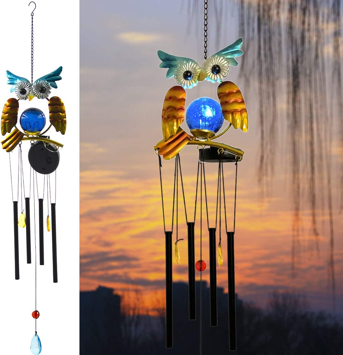 Eleven Direction Owl Solar Wind Chime,Solar Powered Lights with Aluminium Tubes for Ringing,Gift for Mom/Grandma/Wife,Decorations for Garden Outdoor Lawn Patio Yard Porch