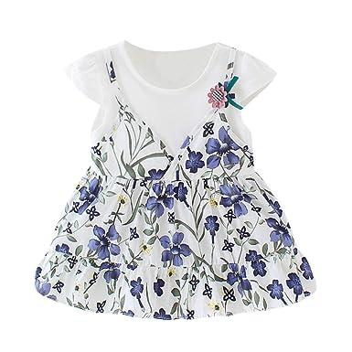 61d74dcb9a Infant Kid Bébé Fille À Manches Courtes Floral Fleur Impression Faux Deux  Pièce Sling Robe Princesse