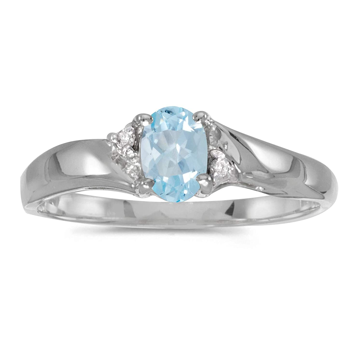 Sterling Silver Oval Aquamarine And Diamond Ring