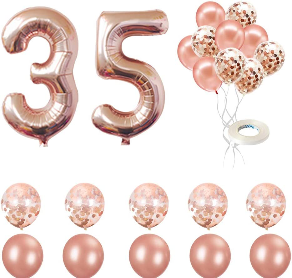 Happy 35th Birthday Decorations Rose Gold 35th Birthday Party Supplies 35th Number Balloons Rose/