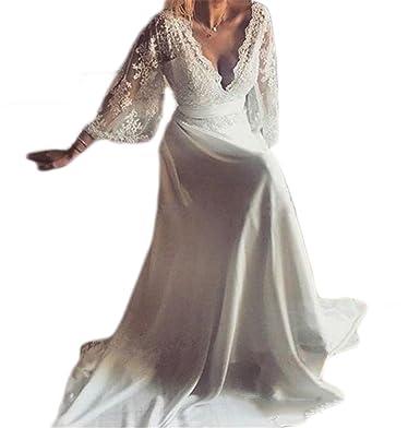 Veilace Women\'s Bohemian Long Sleeves Wedding Dress A Line Lace ...