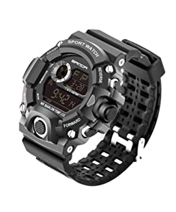Mens Sports Digital Watch - 30M Waterproof Military Digital Watches Alarm/Timer, Military Wrist Watches with LED Backlight for Running Men - Black