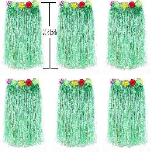 Newcreativetop Adult's Flowered Green Luau Hula Skirts Pack of 6