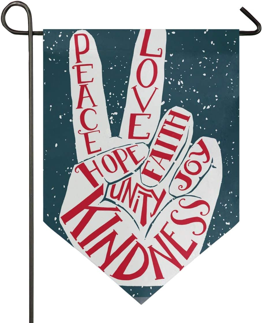 Aflyko Peace and Love Hand Sign Garden Flag Double Sided Decorative Outdoor Banner for Home Lawn Party, 12x18.5 Inch