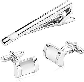 AMDXD Gioielli Acciaio Inossidabile Gemelli Argento Bianco Corpo a rettangolo Progettazione, Gemelli Uomo Eleganti